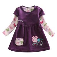 Retail children peppa pig winter tutu princess dress Nova kids long cotton corduroy baby girls causal party dress H4402