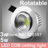 Free ship 20pcs/lot  3W 5W rotatable COB LED ceiling light,  AC85~265V/white and warm white  wholesale rotating led down light