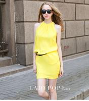 New 2014 Color Tank Dress Halter-neck Sleeveless Chiffon One-piece Dress Neon Yellow 4 Color Plus Size Dresses for Women Belt