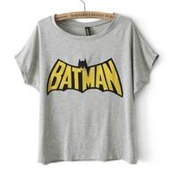Summer Ladies' Cool BATMAN Print T-Shirt O Neck Short Sleeve Tees Casual Soft Brand Designer Tops