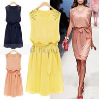 Free Shipping! Summer Women Sundress Pearl OL Large Size Plus Size Festa Nightclub Chiffon Beads Dress 182-0010