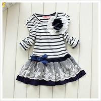 2014 Korean version of children's striped long-sleeved lace dress female flower Child dress princess Dress