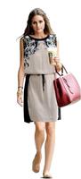 5580 2014 New Women Summer Casual dress  High quality Fashion clothing Woman Chiffon Pinched Waist Women dress Printed