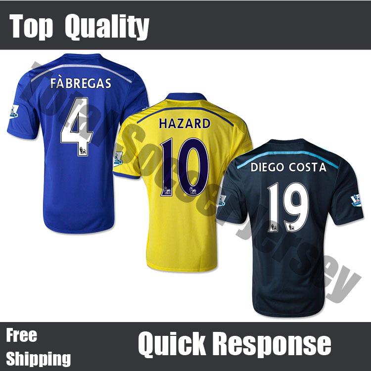 Free Shipping Top Quality New 14 15 Chelsea 2014 2015 Home Blue Soccer Jerseys Torres Hazard Yellow Camisetas De Futbol Shirts(China (Mainland))