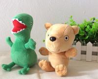 Free Shipping 2pcs=1set Peppa Pig Teddy Bear and Dinosaurs Plush Toys 19cm teddy bear and 17cm Dinosaurs plush toys