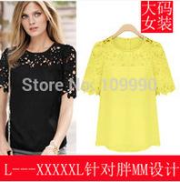 black chiffon lace hollow shirts 2014 new fashion European summer brand za plus size S 5XL XXXL 4XL Women Blouse Vintage tops