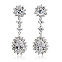 Allencoco luxury design women wedding jewelry/ AAA zircon flower/water drop 18k real platinum planted drop earrings WL0660