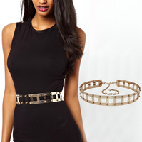 gold full Metal Metallic Belt for women punk rivet metal chain belt