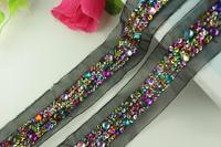 5Yards 6cm Width Beaded Lace Trim Vintage Voile Paillette Lace Fabric Dress Guipure Dentelle Applique Sewing Accessories AC0153