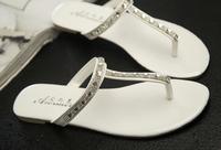 New Arrival 2014 Rhinestone T-type Flip Slippers Simple Wind Fashion Flat Heel Cozy Women's Slides Flip Flops Free Shipping
