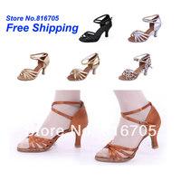 Women's Latin dance shoes dance shoes soft outsole dance shoes dance shoes square jazz dance 217-A( heel 7 cm)