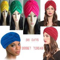 India Cap Hat Scarf Yoga Stretch Cap Big Satin Bonnet Turban Free Shipping
