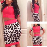 2014 New 2 pieces women sexy bandage dress O-neck short sleeve women bodycon dress crop top sets Mini clubwear TY133