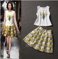 women Printed crop top and skirt set summer 2014 European flower shirt + sheds two piece clothing