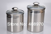 304 Stainless Steel 2- piece Kitchen Canister  Set  Countertop Storage Sealed Cans with lid