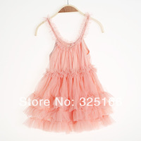 Retail Beautiful Summer Girl Strap Lace Cake Pricess Dress Children Party Dresses Kids Clothing Free Shipping