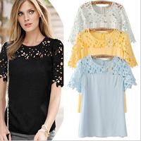 women new 2014 linda camisa saia cropped florais guipir renda camiseta blusa roupa feminina hollow out lace Blouses & Shirts