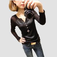 New Spring Summer 2014 Women Casual Chiffon Gauze Patchwork Blouses Long Sleeve shirts Tops For Women Clothing TT011