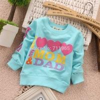 Free shipping 2014 Spring Korean version Children T shirt Girls i love mom/dad Long sleeve T shirt kids T shirt SD896