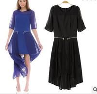 2014 summer new European style lace irregular stitching pleated fashion dress women short sleeve cotton chiffon lady party dress