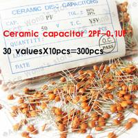 Ceramic capacitor 2PF-0.1UF,30 valuesX10pcs=300pcs,Electronic Components Package,ceramic capacitor Assorted Kit