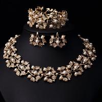 Wholesale Wedding Jewelry Set,Fashion Necklace and Earrings Bracelet Set,Zinc Alloy,Pearl Jewelry Set Free Shipping