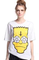 "EAST KNITTING RE-56 spring new 2014 t shirt women ""Sad Simpson"" White T-shirt Free shipping"