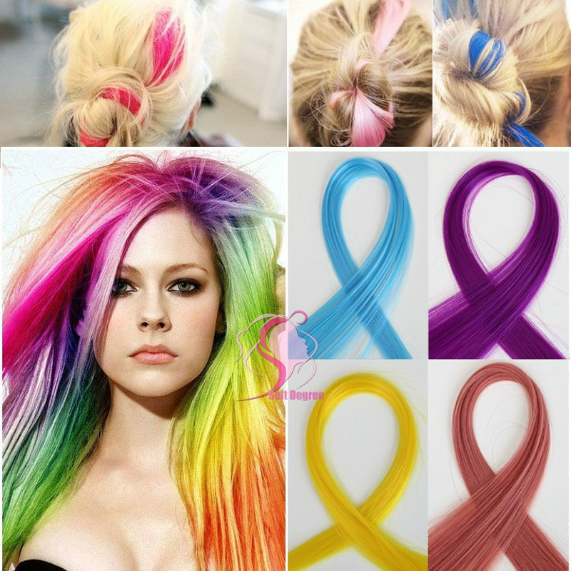"""SoftDegree Hair 2014 Limited Top Fasion Clip-in for Pink / hair color / 24"""" Straight Colored Clip Hair Extension Piece/Extension(China (Mainland))"""
