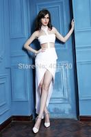 Spring-Summer 2014 Fashion Launch G5022 White Halter Runway Recap Party Prom Dress Evening Dress
