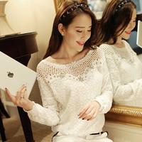 New Spring Summer 2014 Women Fashion Chiffon Hollow Out Lace Patchwork Blouses Women Work Wear Shirts Tops TT012