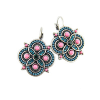 New Arrival 5 Colors Brincos Women Vintage Colorful Beads Charms Rhinestones Lucky Clip On Earrings Statement Jewelry