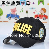 Top qualtiy poplar 3D Embroidery letter POLICE children baseball hats 53-56cm