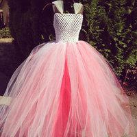 Handmade Hot Pink Girl Party Dress Girl Flower Tutu Dress Beautiful Fluffy Birthday Dress Baby Wedding Festival Customize
