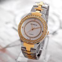 Famous Brand 2014 New Women Rhinestone Stainless Steel Dress Watch,Fashion Lady Quartz Wrist Watch With Logo,Gift Watch