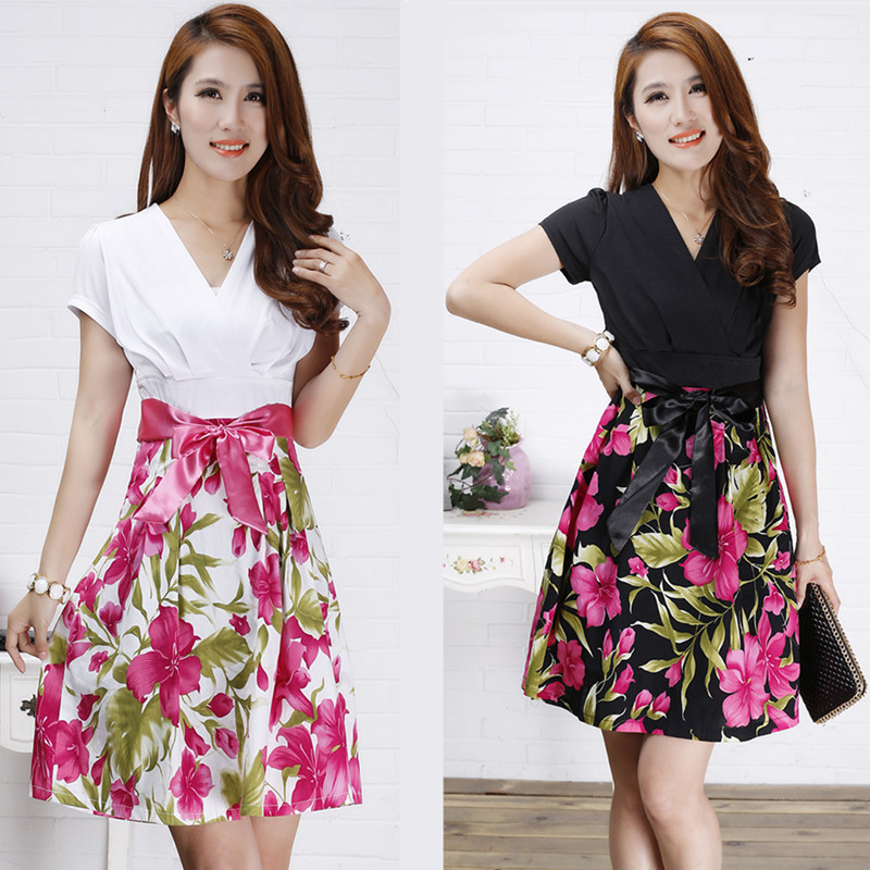 Hot-Selling 2014 Spring Summer Women's Dresses Large Flowers/Ribbon Bow slim waist V-neck short-sleeve Dress OL Female Clothes(China (Mainland))