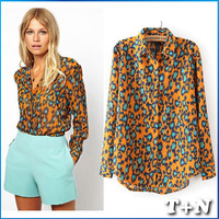 2014 Fashion Brand Women Elegant Leopard Print Tops Long Sleeve Casual Slim Office Lady Designer Chiffon Blouse Shirt