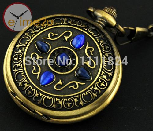 Vintage Noble Bronze Blue Stone Gold Skeleton Mechanical Pocket Watch Steampunk(China (Mainland))