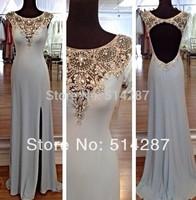 Luxury Custom Made Crystal Beading Cap Sleeve Mermaid Backless Floor Length Prom Dresses Evening Dress 2014 New Arrival