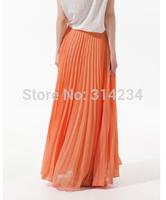 Manufacturer sale!2014 Fashion Bohemian Princess pleated Skirt  4 Colors Amazing Chiffon Long Skirt good Quality