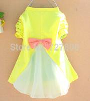 2014 new baby girl star moon cotton chiffon t-shirt dress girls bowknot  sweater kids spring autumn clothing