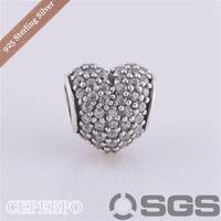 Authentic Sterling Clear Pave Heart with Clear CZ Fit Pandora Bracelet Necklaces & Pendants LW251A
