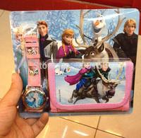 1404z Frozen Anna Elsa Sets Watch and Wallet 2 in 1 Purse Kids Fashion Quartz Cartoon Lovely Boy Girl Children Watch 38609794220