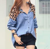2014 spring leopard print patchwork loose denim shirt female plus size Blouses camisa jeans feminina womens shirts