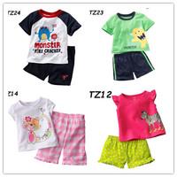 In stock Retail 1 piece Children's Clothing set Summer T-shirt + pants Girls cute Top trousers Boys Clothes kIds Cartoon Cotton