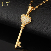 Key Chain Necklaces & Pendants 2014 New Fashion Jewelry 18K Gold Plated Romantic Heart Zirconia Pendant Necklace For Women P375