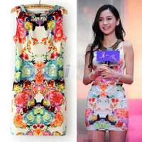 Women's print knee-length party mini dress autumn summer symmetry circulating doodle flower dress