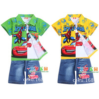 top+shirt+jeans spidermen clothes sets 3pcs/set summer kids wear baby boys clothing sets fit 2-5yrs casual tracksuit 6801