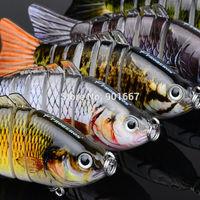 "5pc/lot New 2014 Proberos 7 Sections Fishing Lure 10cm/4"" 0.55oz/15.5g Swimbait Fishing bait 6# Good Quality Hook Fishing Tackle"