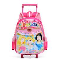 2014 New Cartoon Children School Bags on Wheels kids school backpacks children cartoon design trolly school bag
