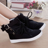 2015 summer autumn lacing high canvas shoes female elevator platform women's casual flat sneaker shoes